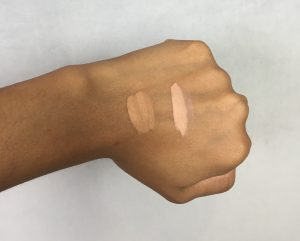 On the left I have swatched Studio Fix by MAC in NC45 on the left and Dermablend Flawless Creator Foundation drops in 45c on the right