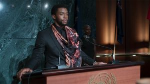 The character T-Challa speaks to the UN in the movie Black Panther. Real Women Talk 2 movie review