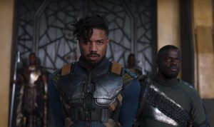The character Erik Killmonger played by Michael B. Jordan.