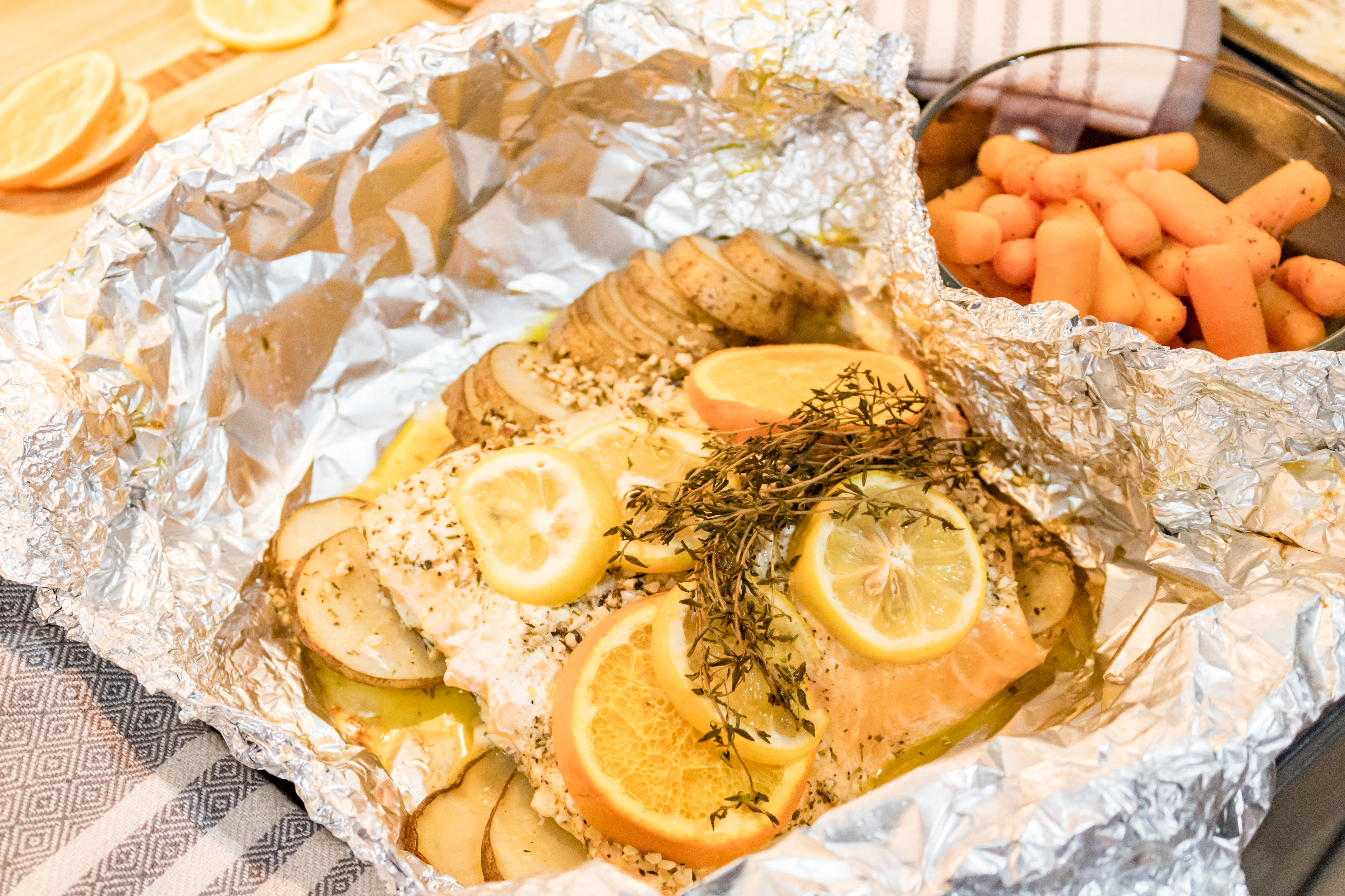 Garlic Butter Salmon Foil Packet and Sweet Carrots